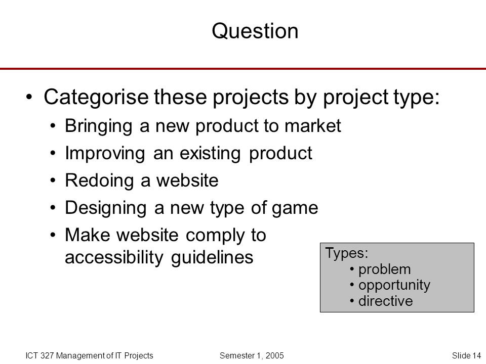 Categorise these projects by project type: