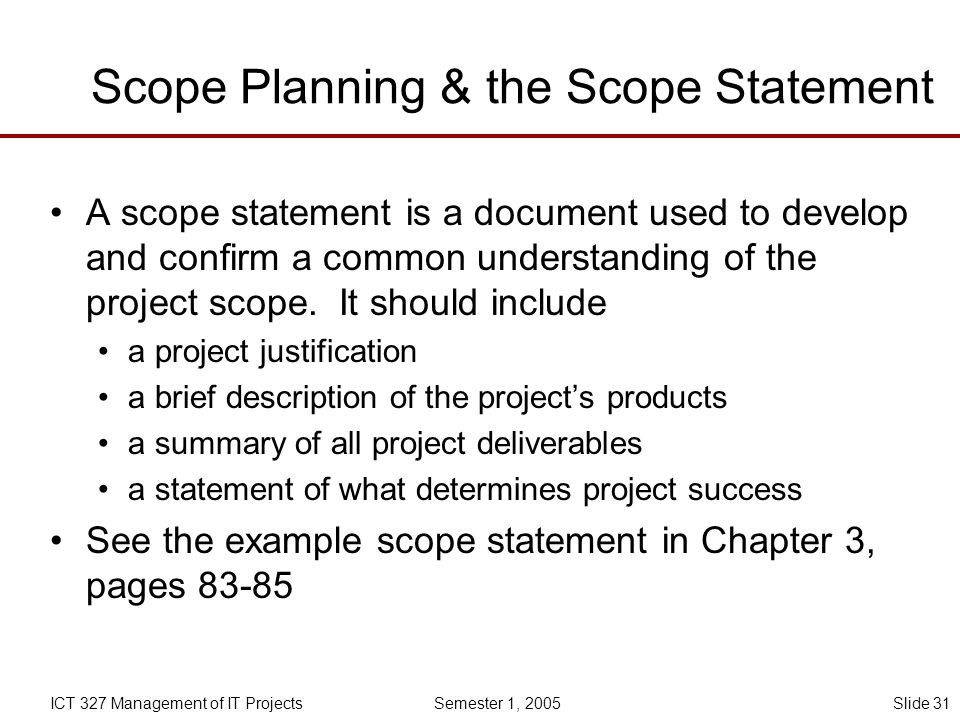 Scope Planning & the Scope Statement