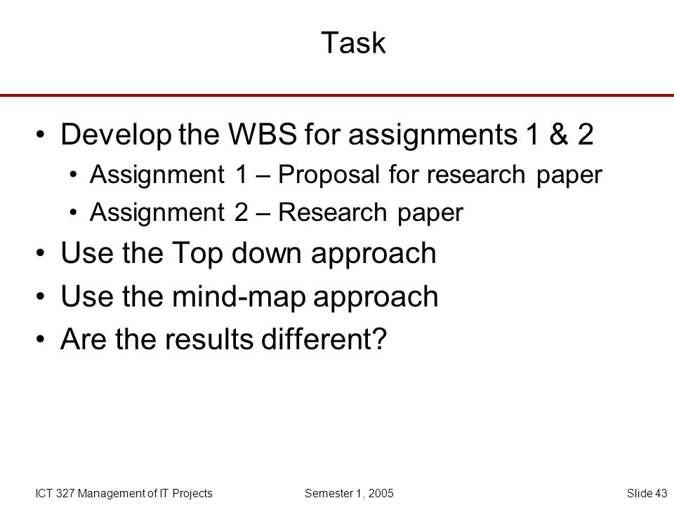 Develop the WBS for assignments 1 & 2