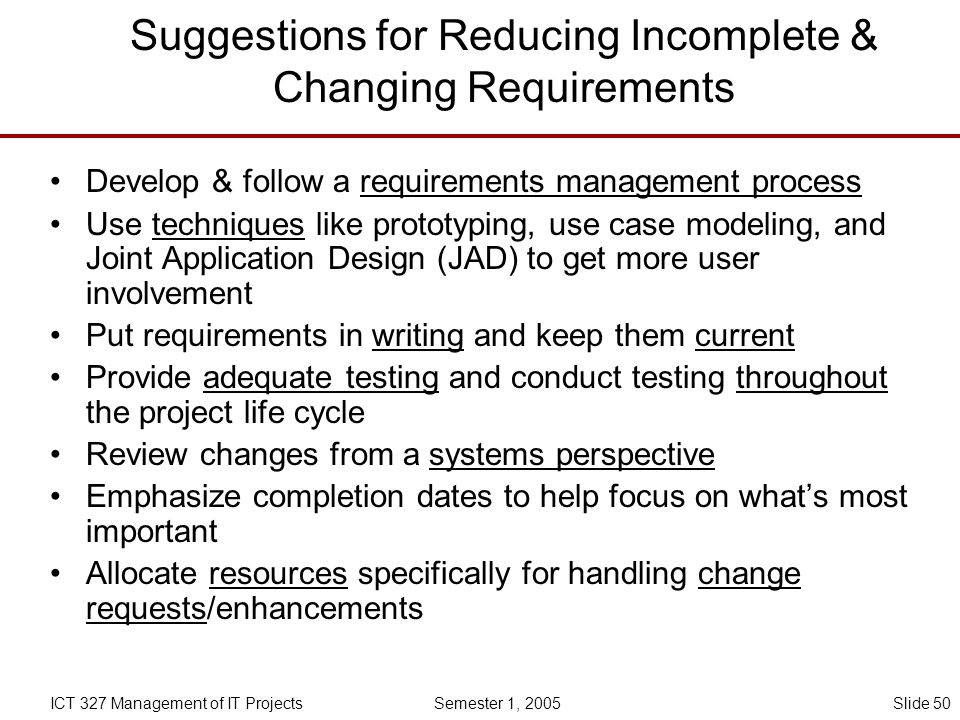 Suggestions for Reducing Incomplete & Changing Requirements