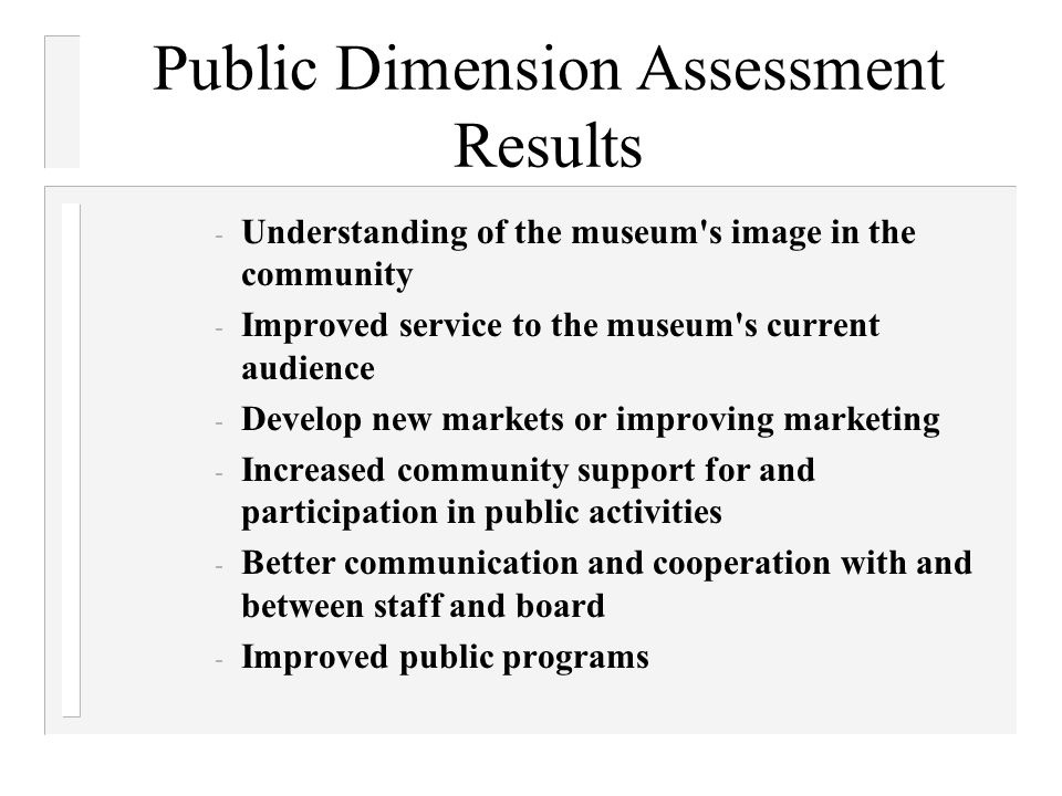 Public Dimension Assessment Results