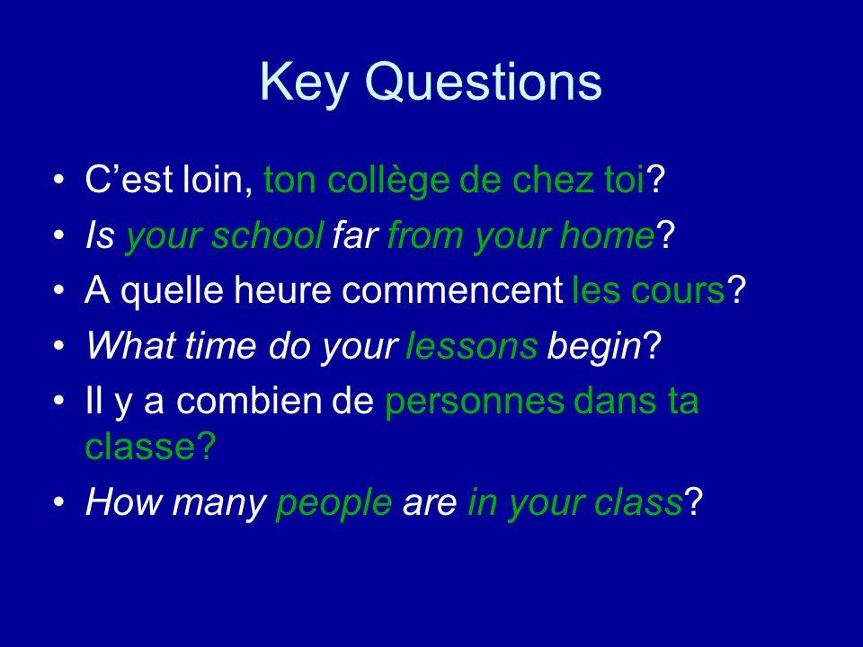 Key Questions C'est loin, ton collège de chez toi