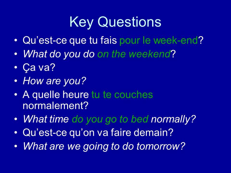 Key Questions Qu'est-ce que tu fais pour le week-end