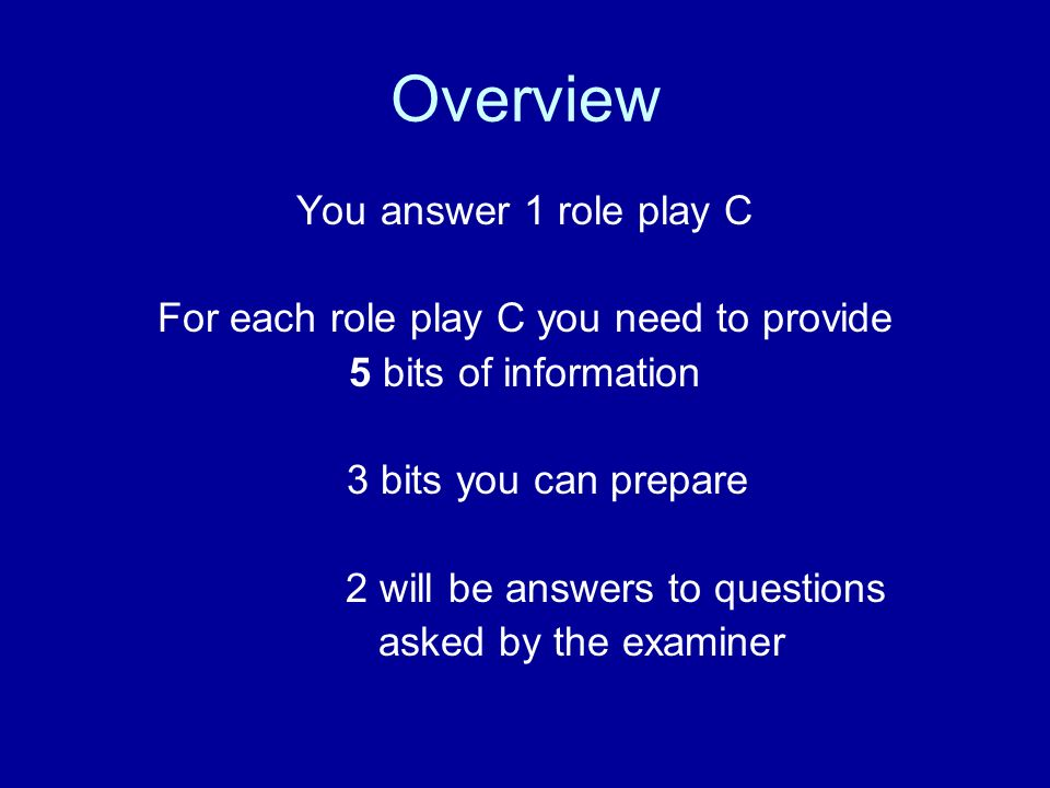 Overview You answer 1 role play C