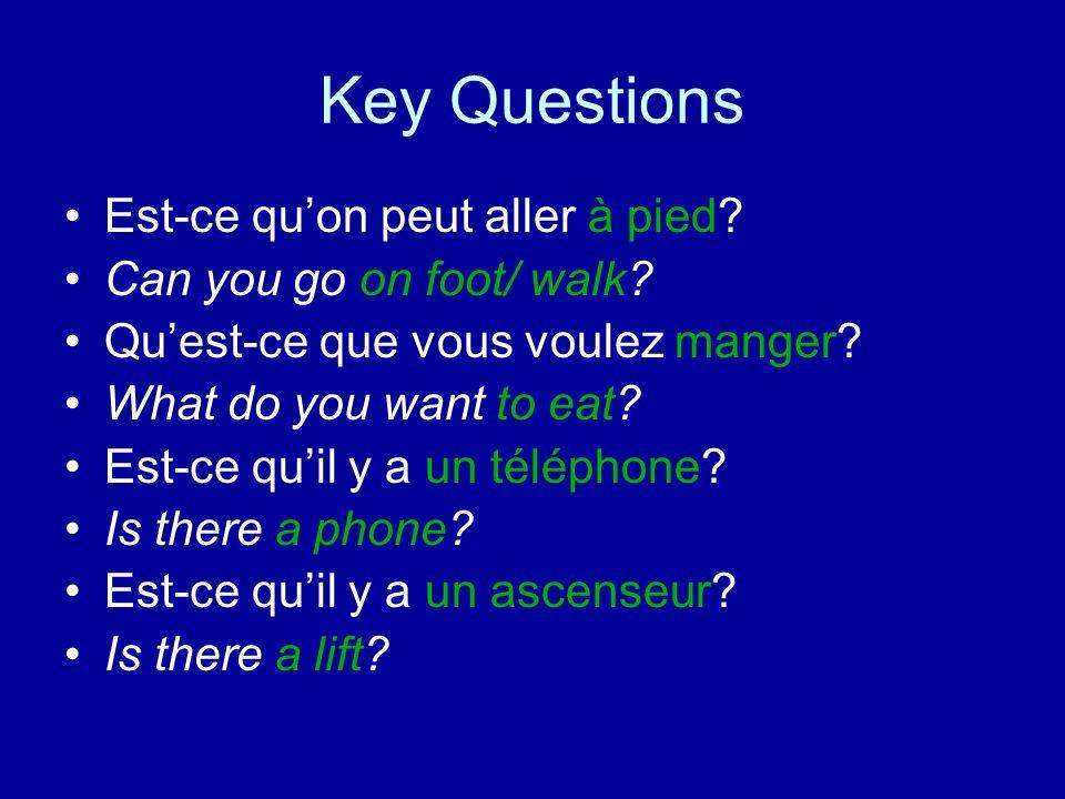 Key Questions Est-ce qu'on peut aller à pied