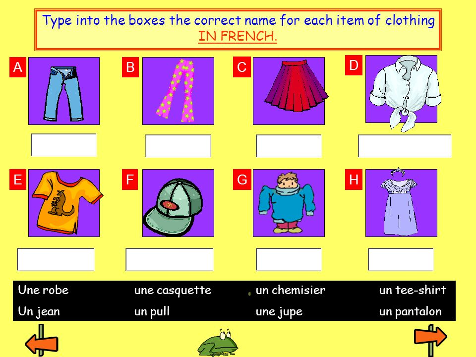 Type into the boxes the correct name for each item of clothing IN FRENCH.
