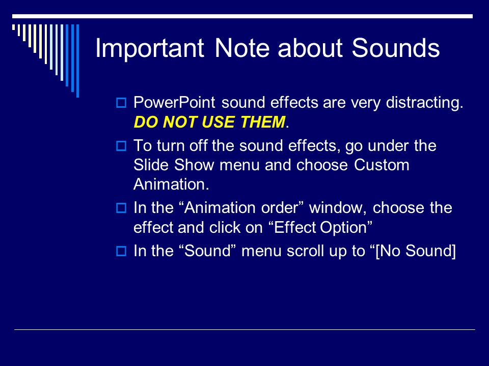 Important Note about Sounds