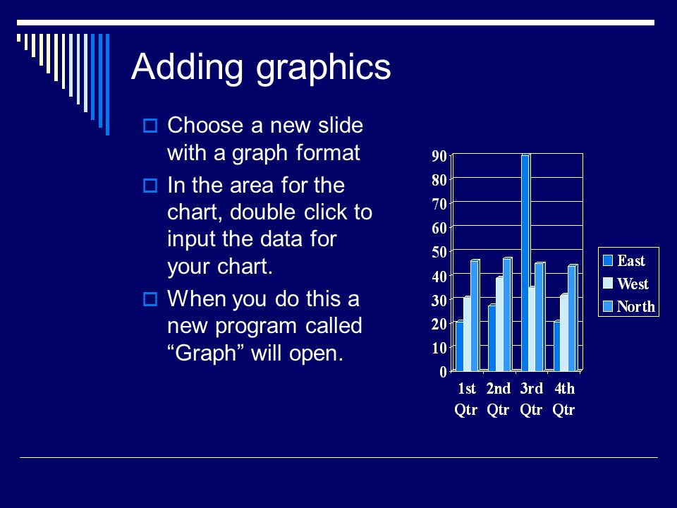 Adding graphics Choose a new slide with a graph format