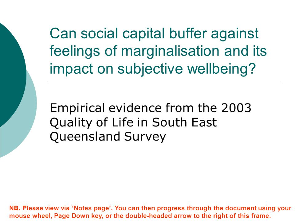 Can social capital buffer against feelings of marginalisation and its impact on subjective wellbeing
