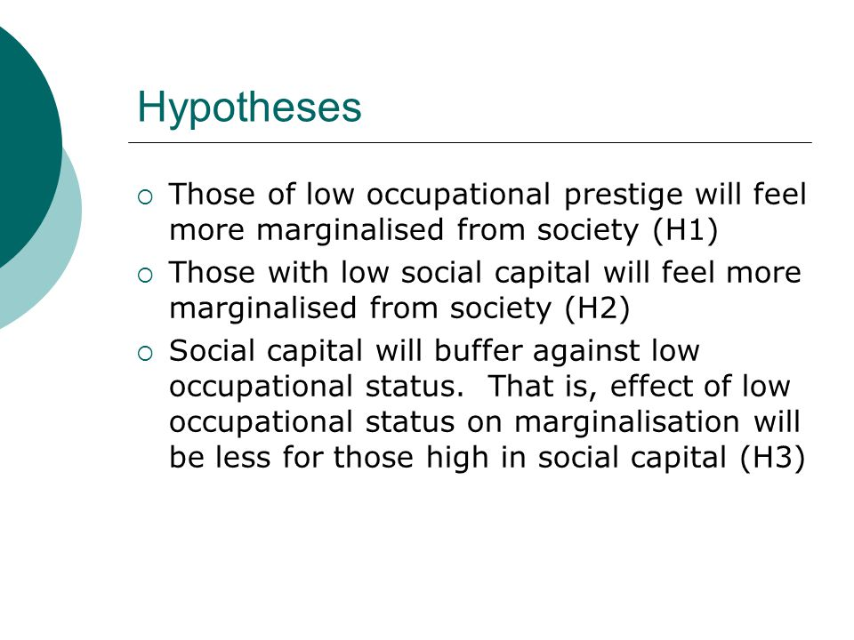 Hypotheses Those of low occupational prestige will feel more marginalised from society (H1)