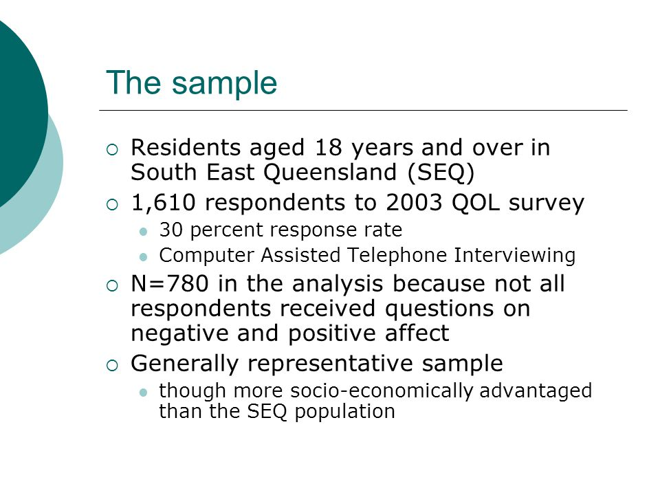 The sample Residents aged 18 years and over in South East Queensland (SEQ) 1,610 respondents to 2003 QOL survey.