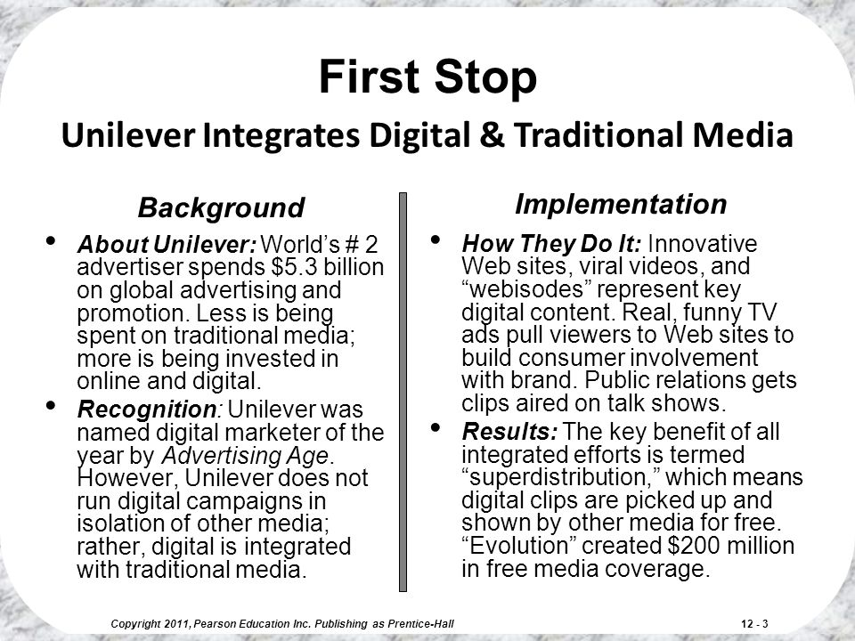 First Stop Unilever Integrates Digital & Traditional Media