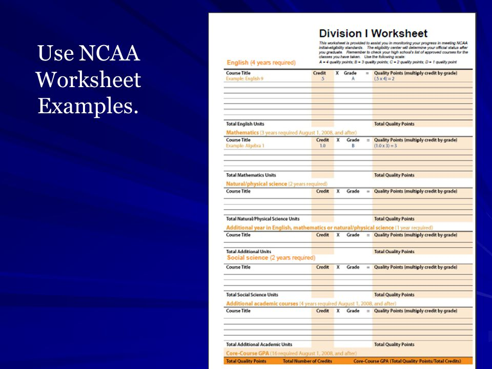 NCAA NAIA Eligibility Informational Meeting ppt download – Ncaa Eligibility Worksheet