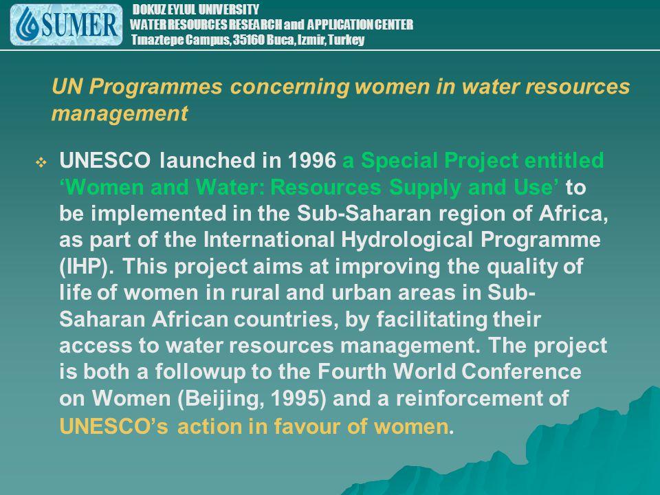 UN Programmes concerning women in water resources management