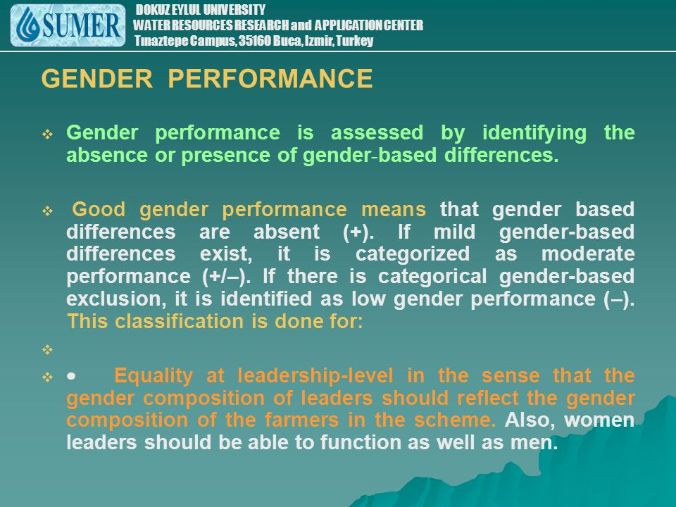 GENDER PERFORMANCE Gender performance is assessed by identifying the absence or presence of gender-based differences.