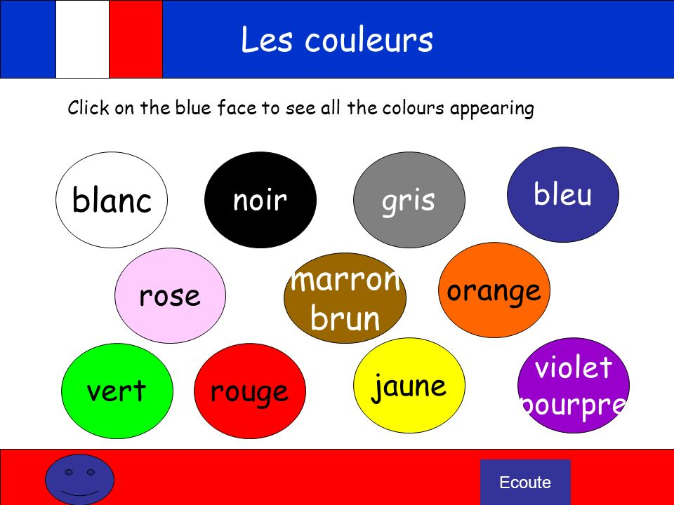 Les couleurs blanc marron brun bleu noir gris orange rose jaune violet