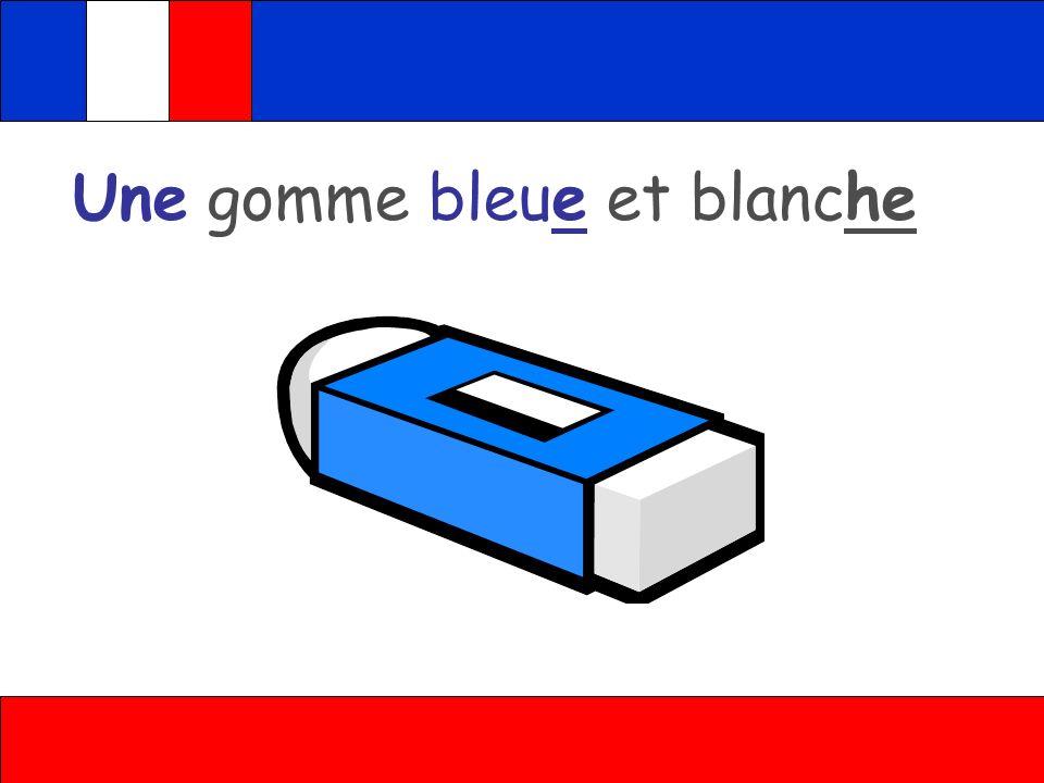Une gomme bleue et blanche