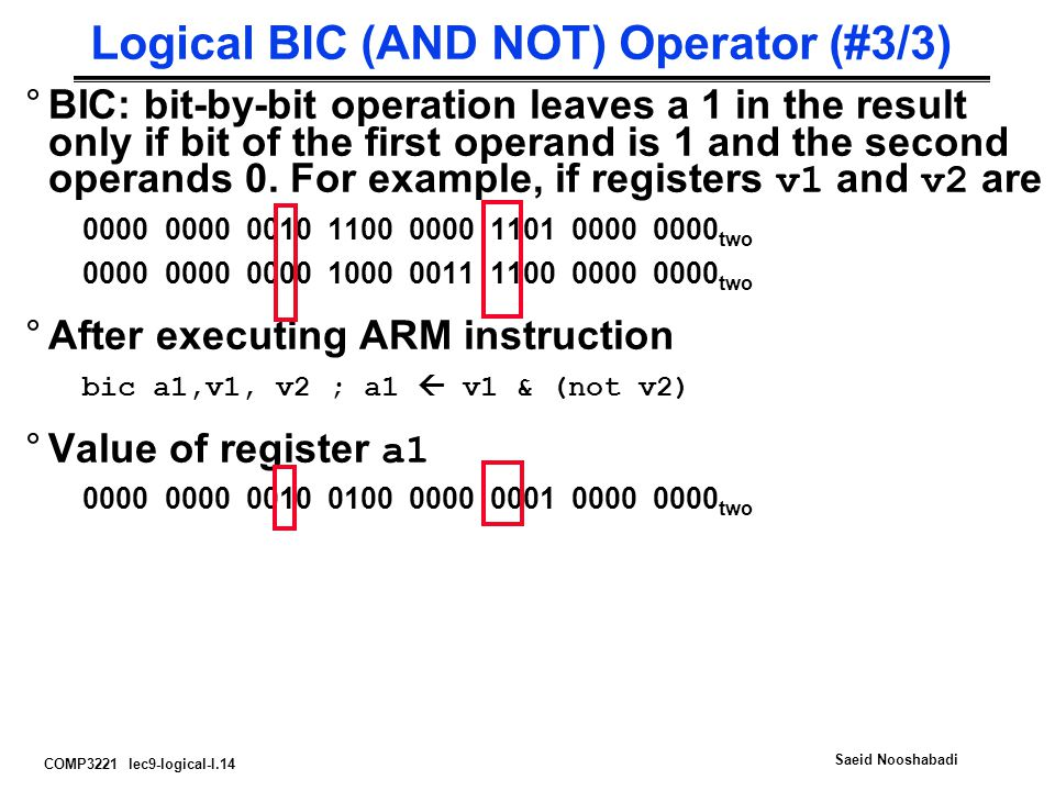 Logical BIC (AND NOT) Operator (#3/3)