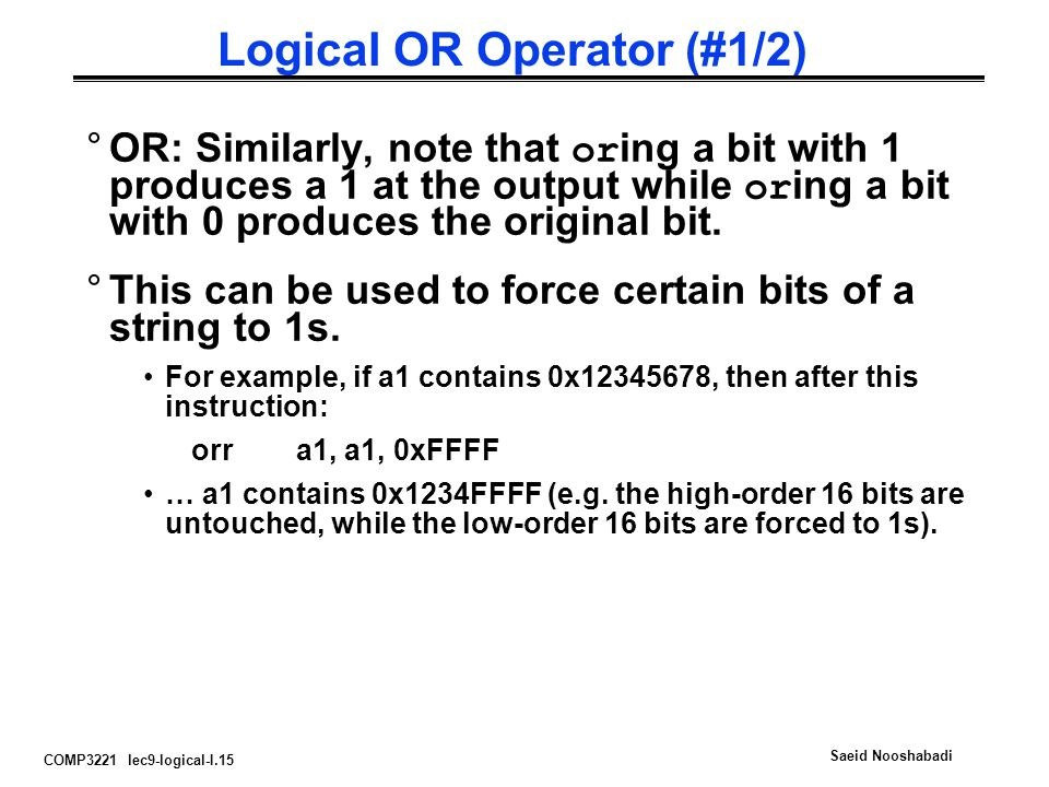 Logical OR Operator (#1/2)