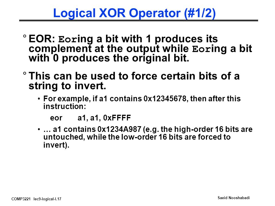 Logical XOR Operator (#1/2)
