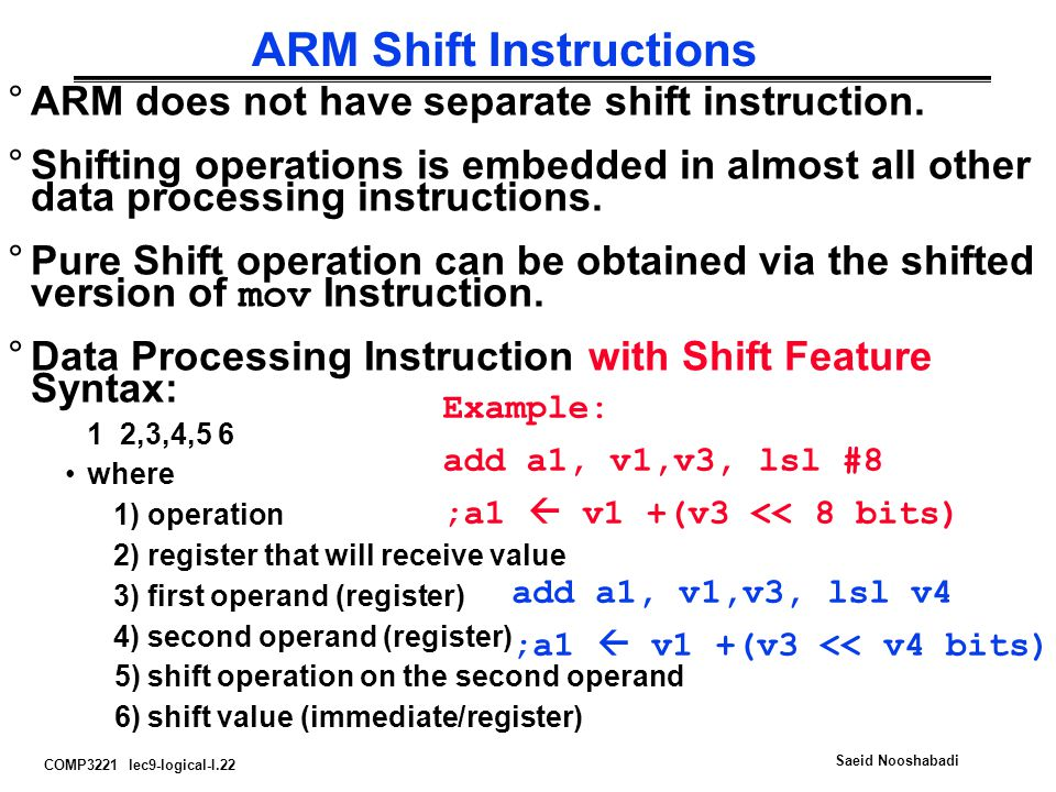 ARM Shift Instructions