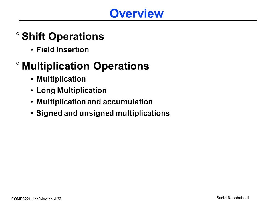 Overview Shift Operations Multiplication Operations Field Insertion