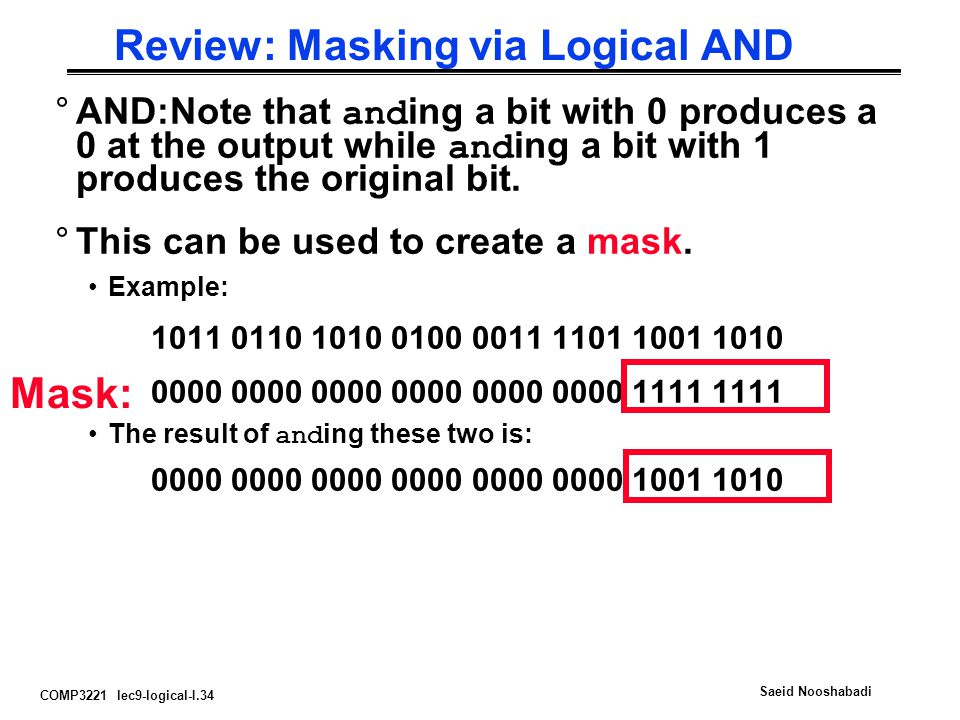 Review: Masking via Logical AND