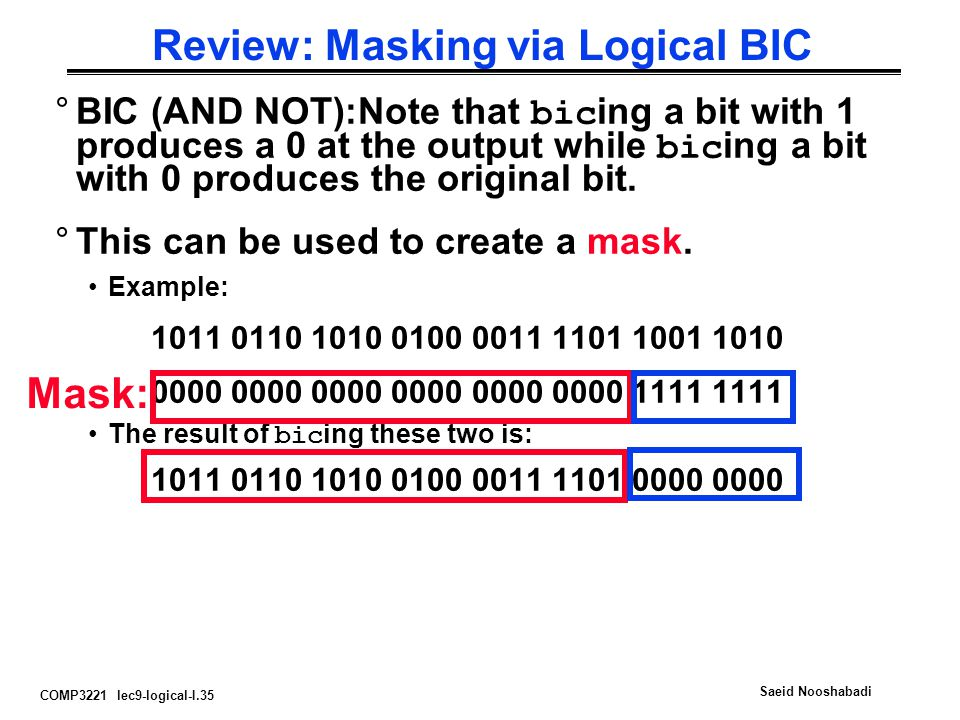 Review: Masking via Logical BIC