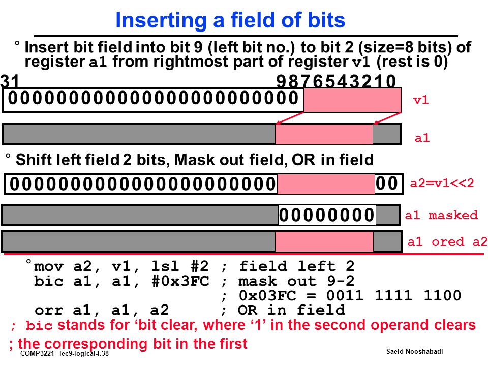 Inserting a field of bits