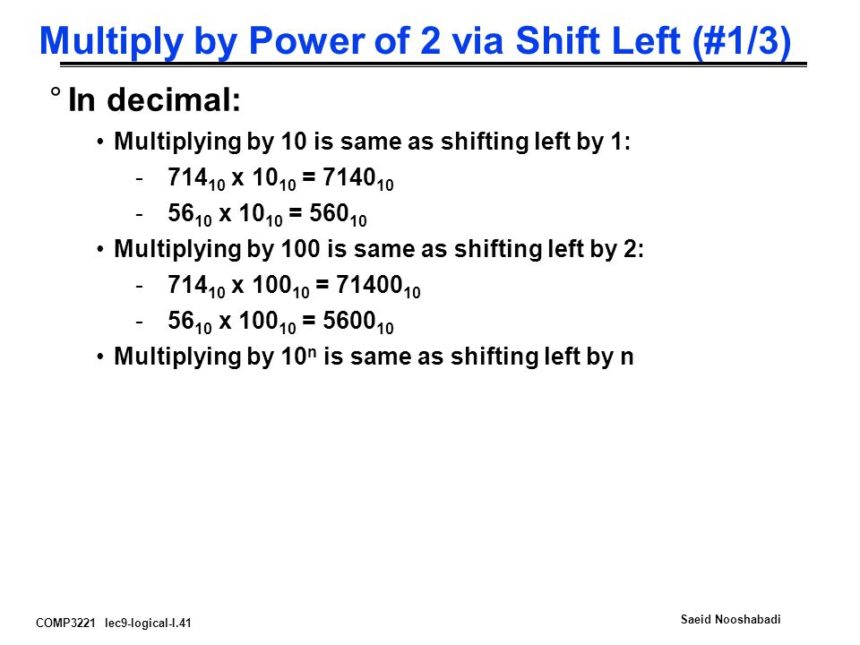 Multiply by Power of 2 via Shift Left (#1/3)
