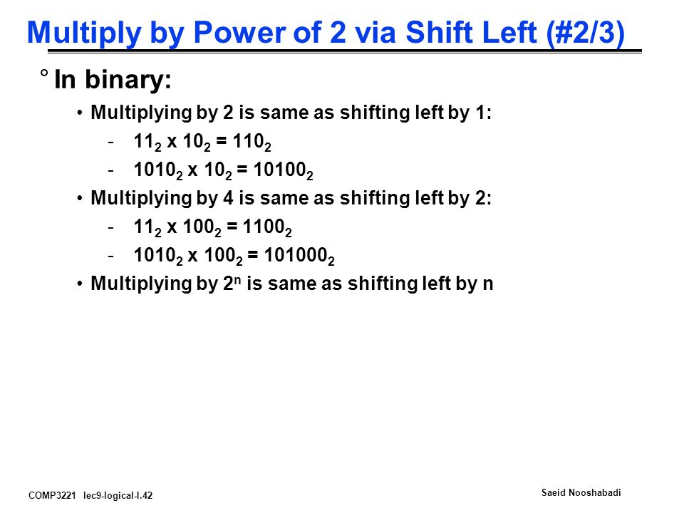 Multiply by Power of 2 via Shift Left (#2/3)