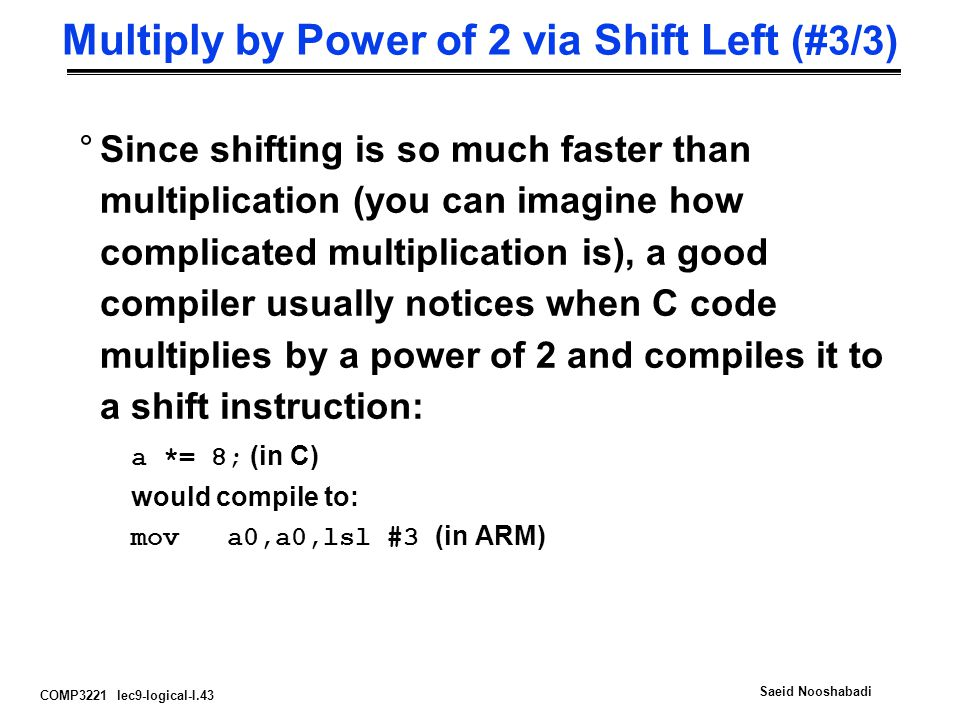 Multiply by Power of 2 via Shift Left (#3/3)