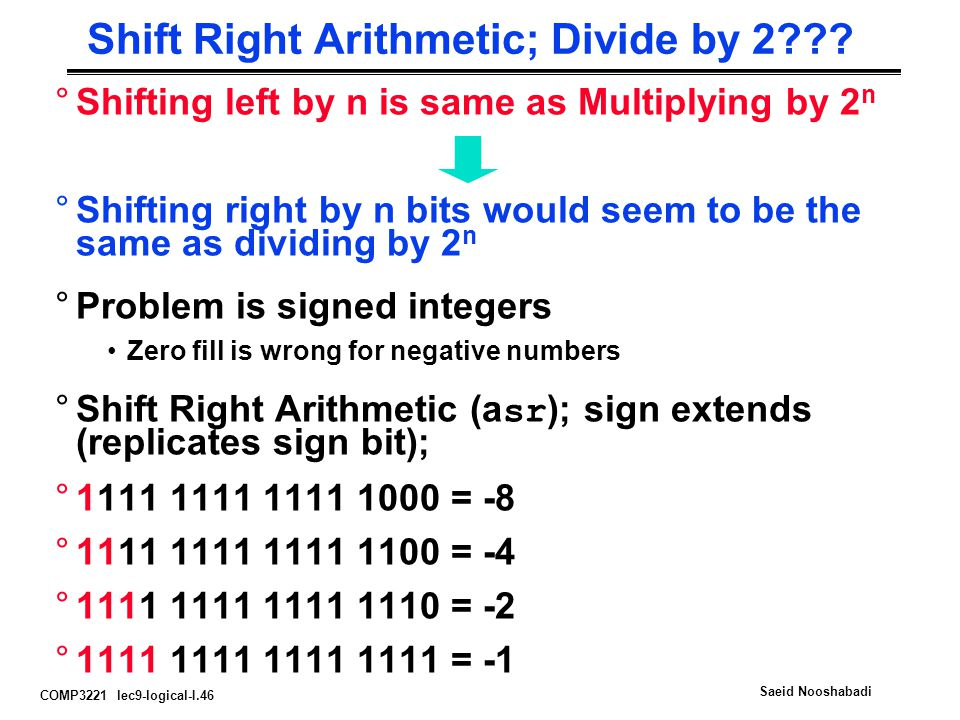 Shift Right Arithmetic; Divide by 2
