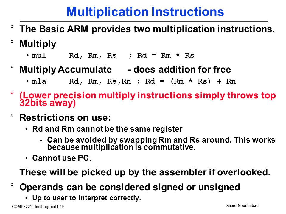 Multiplication Instructions