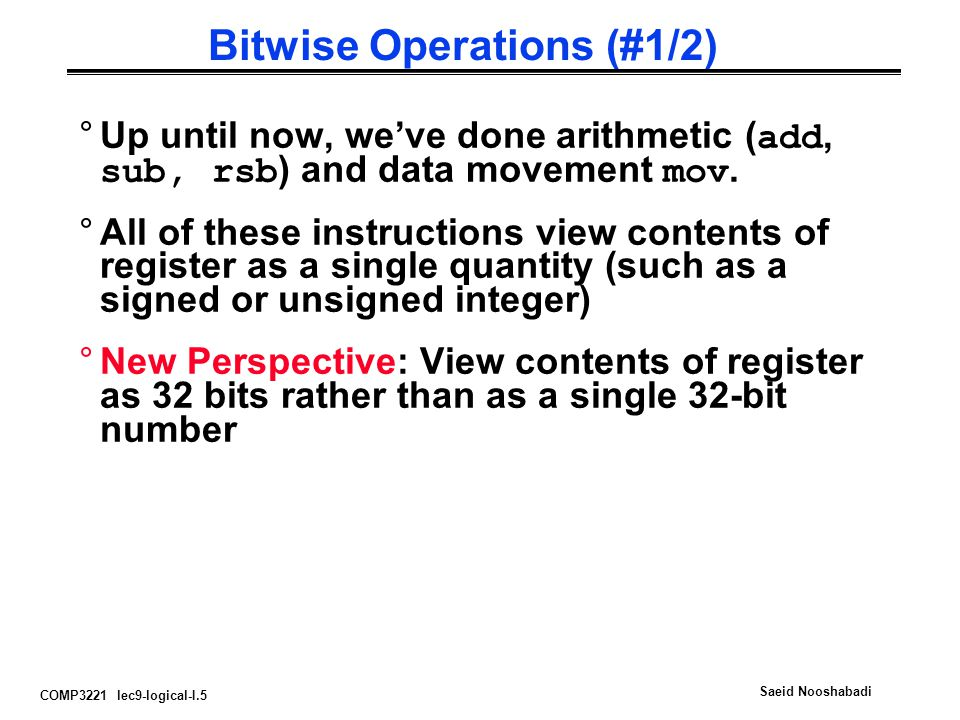 Bitwise Operations (#1/2)