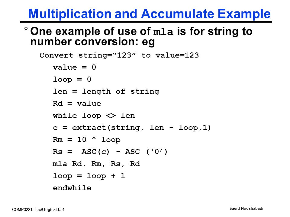Multiplication and Accumulate Example