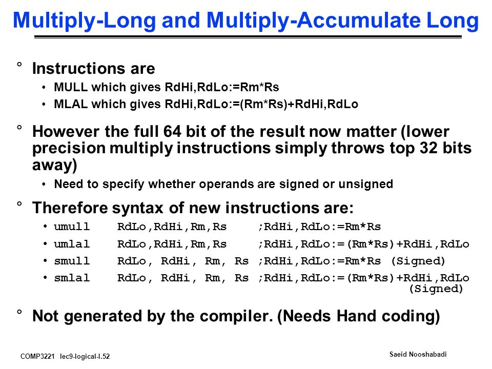 Multiply-Long and Multiply-Accumulate Long