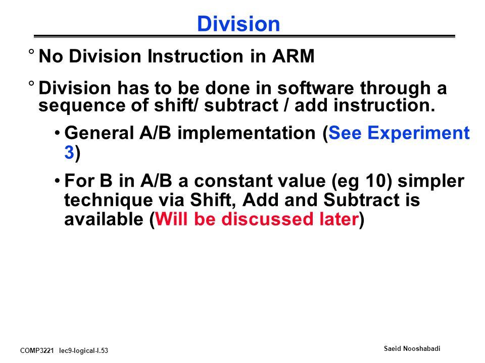 Division No Division Instruction in ARM