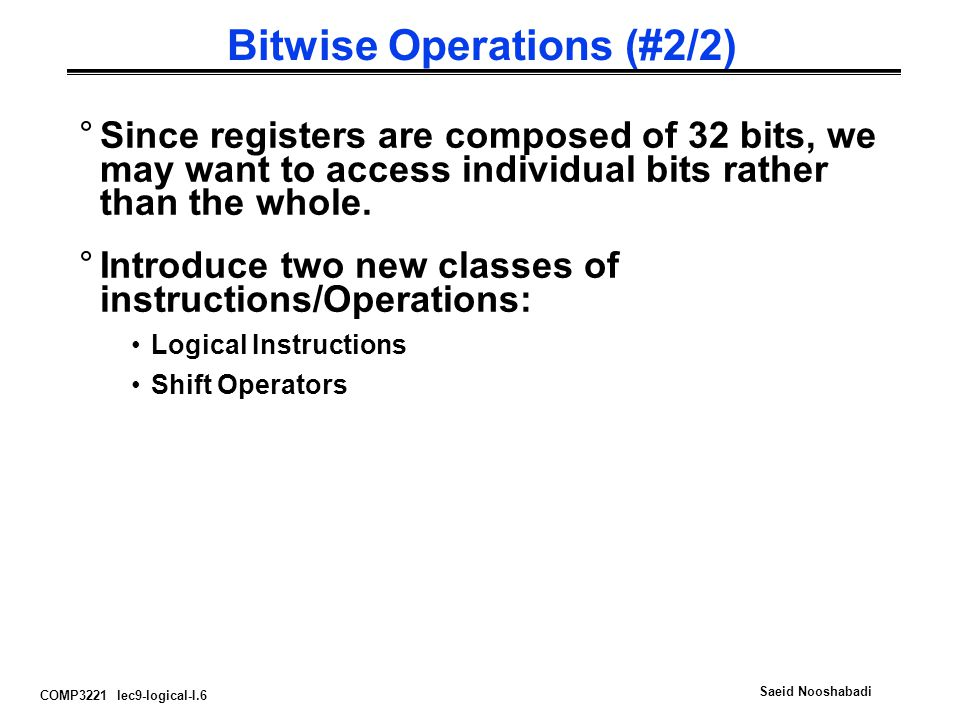 Bitwise Operations (#2/2)