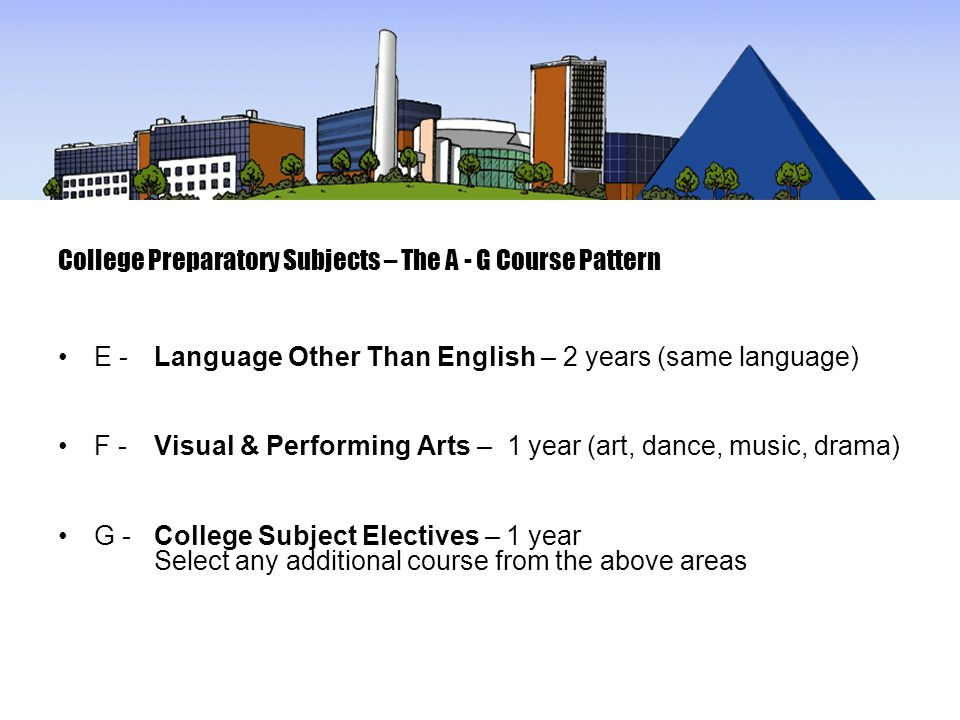 College Preparatory Subjects – The A - G Course Pattern