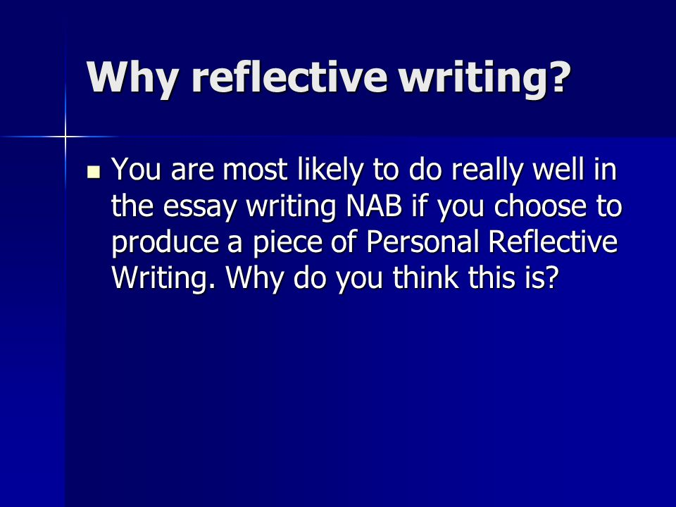 personal reflective writing To get you started thinking about what makes for good reflective essay topics of both studying and personal writing a reflective essay is.