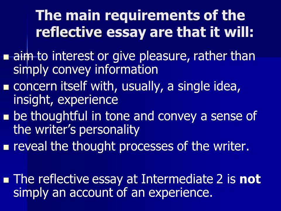 personal reflective essay intermediate 2