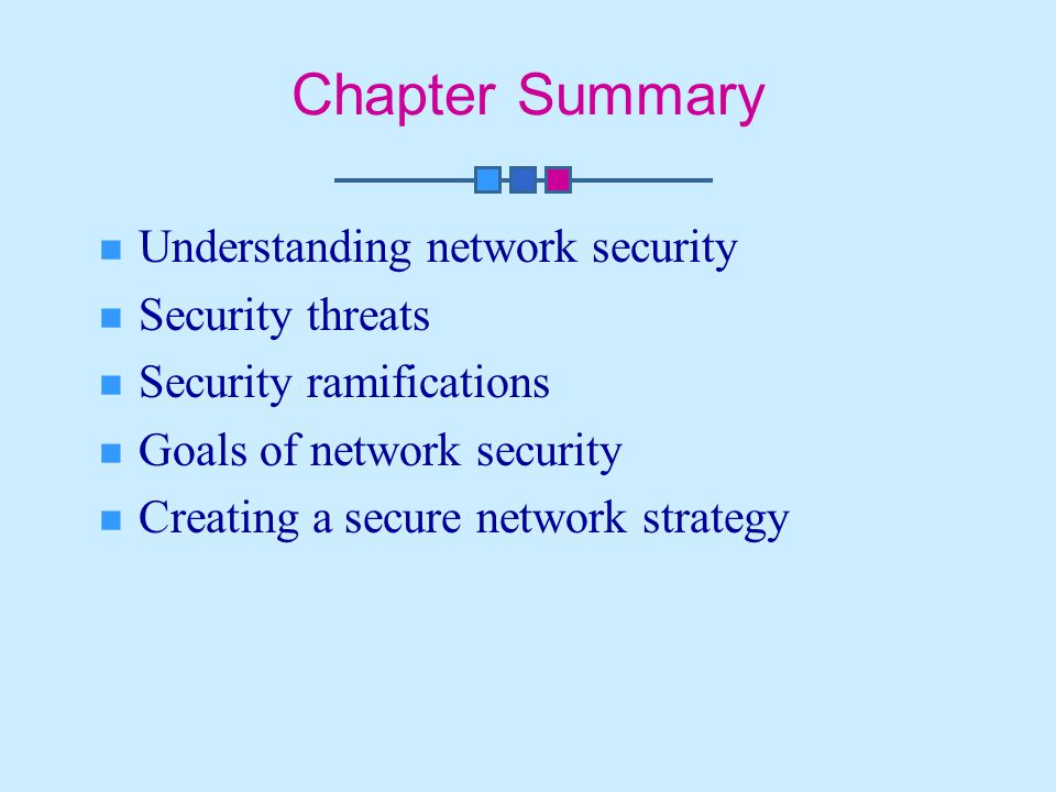Chapter Summary Understanding network security Security threats