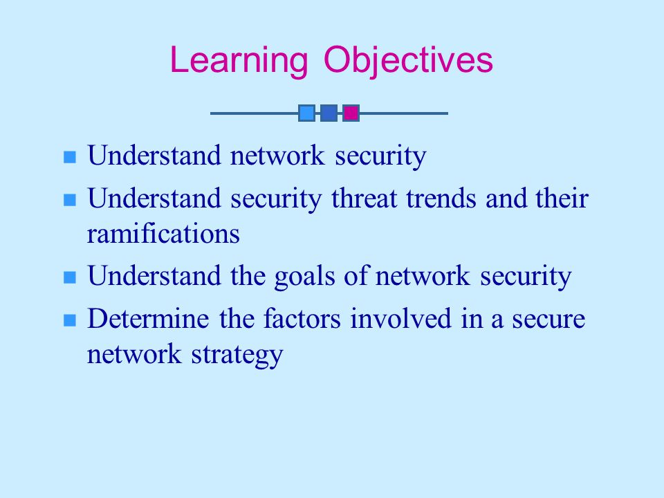 Learning Objectives Understand network security
