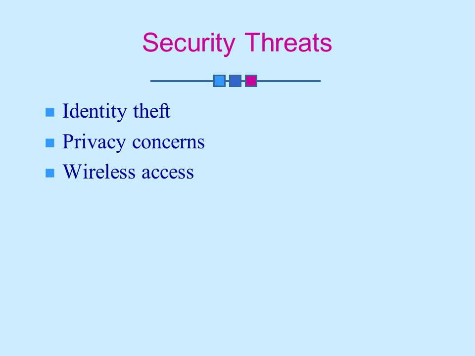 Security Threats Identity theft Privacy concerns Wireless access