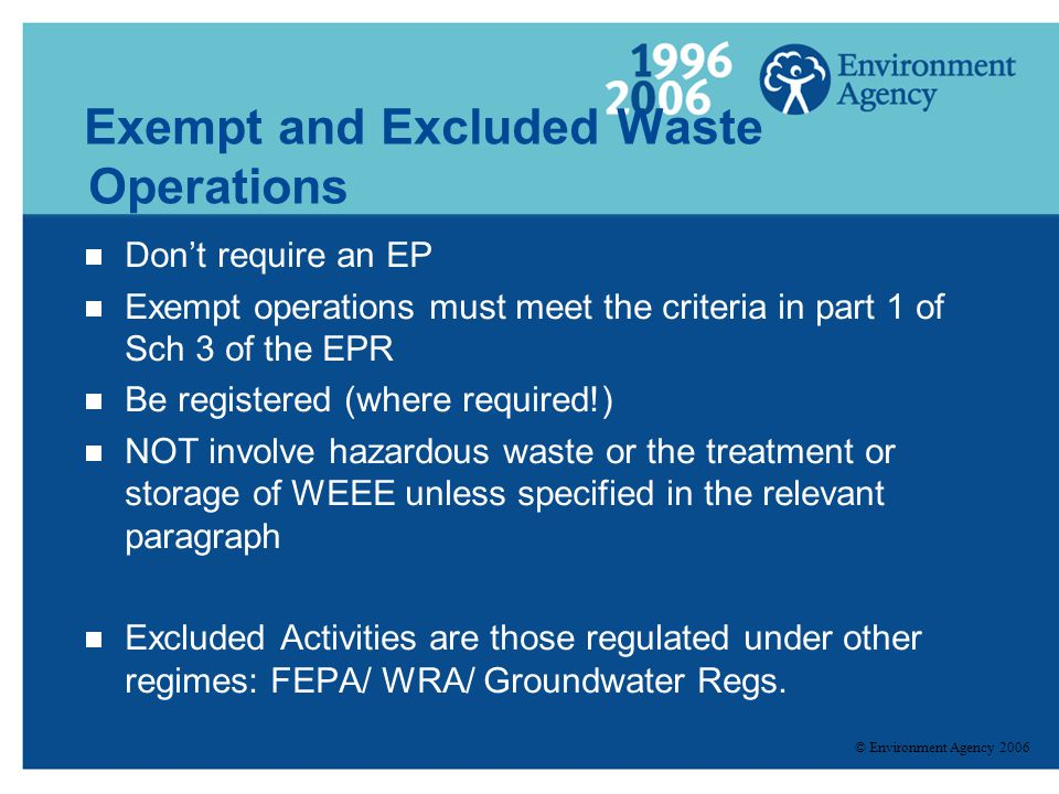 Exempt and Excluded Waste Operations