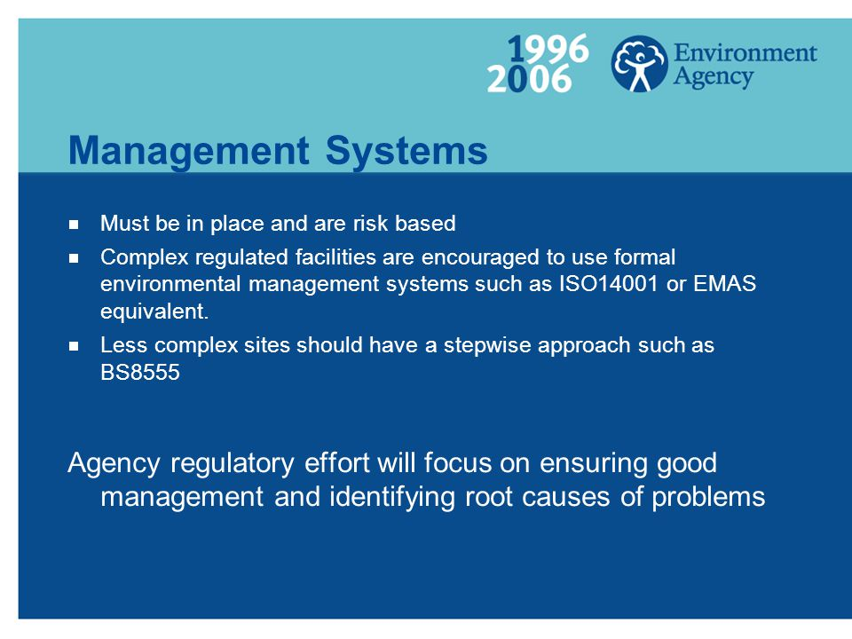 Management Systems Must be in place and are risk based.