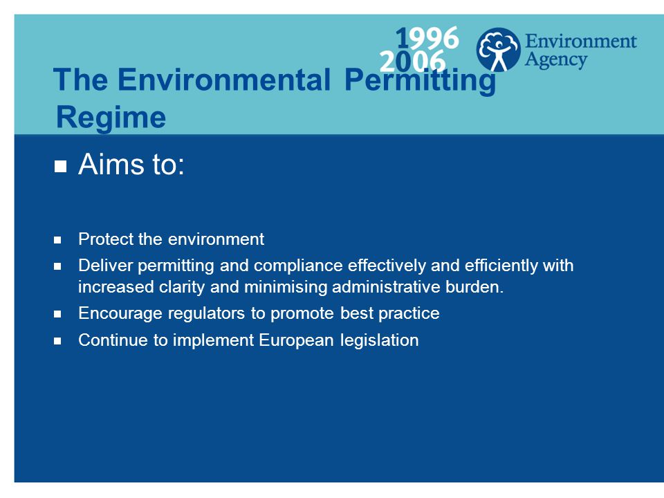 The Environmental Permitting Regime