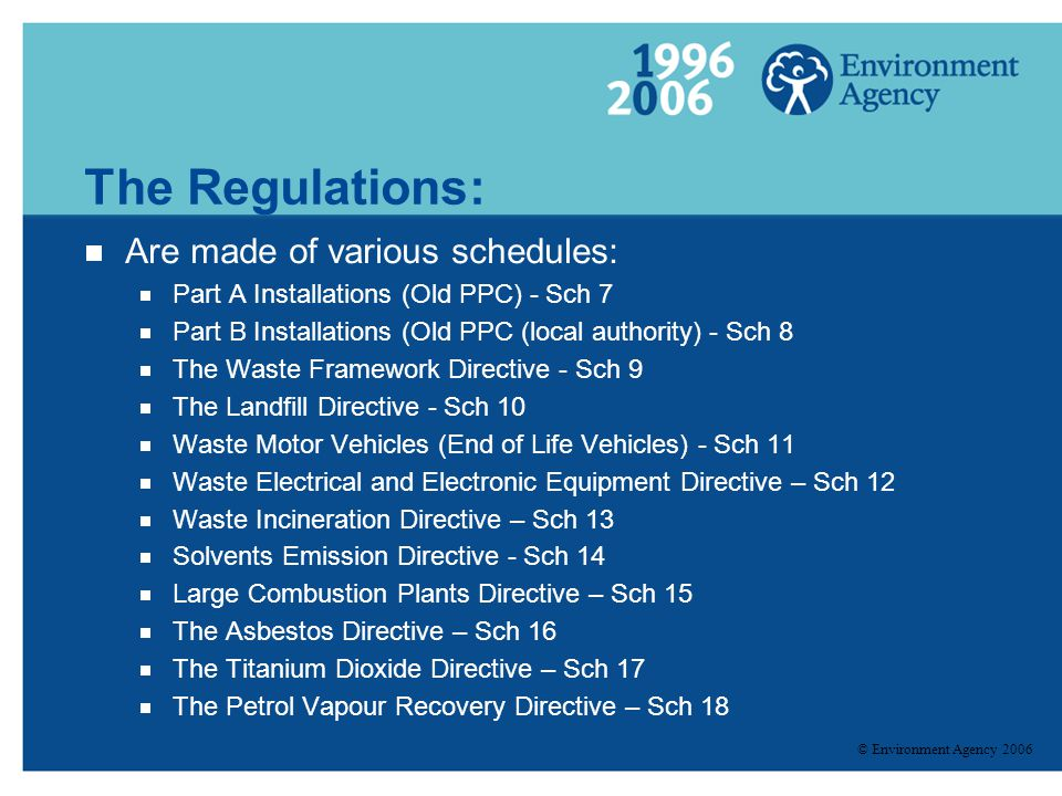 The Regulations: Are made of various schedules: