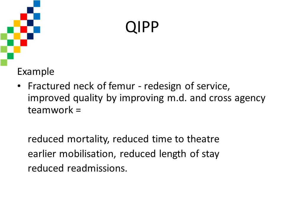 QIPP Example. Fractured neck of femur - redesign of service, improved quality by improving m.d. and cross agency teamwork =